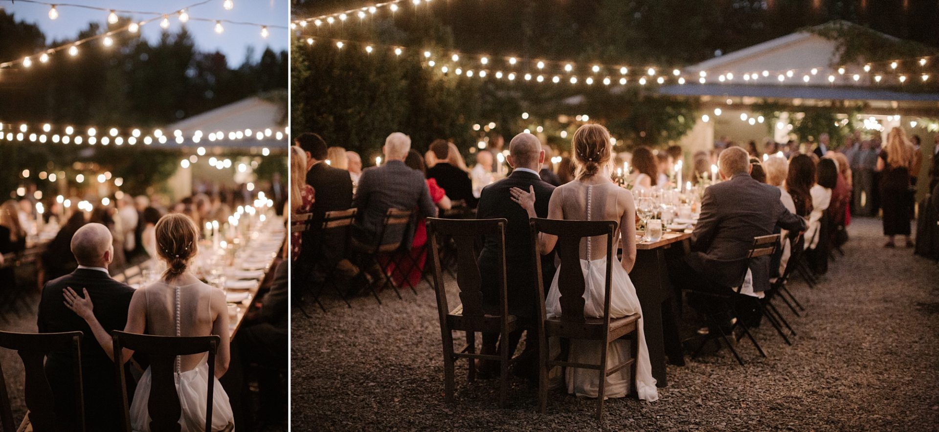 Bride and groom during dinner at M & D Farm