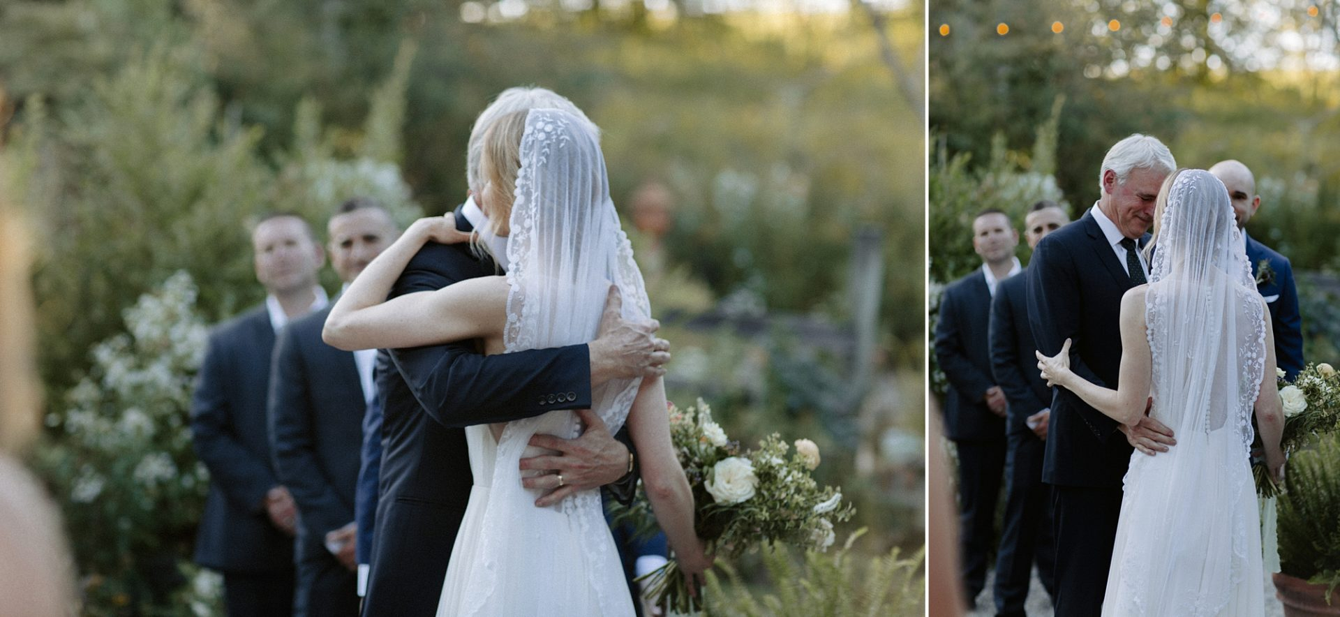Bride and her father hugging at M & D Farm